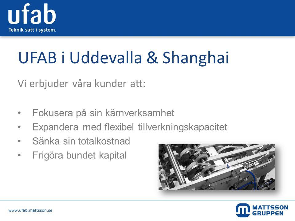 UFAB Uddevalla • Utveckling – Montage • Maskiner med hög teknisk nivå • Omsättning 2011: 160 MSEK • Antal anställda 2011: 52 • Kvalitet först – ISO 9001:2008 • 40 års erfarenhet – 1500 system • Kostnadsmedvetna – Lean • Miljöansvar - ISO 14001:2004
