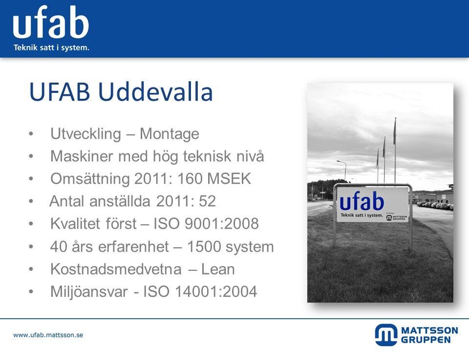 UFAB Uddevalla • Utveckling – Montage • Maskiner med hög teknisk nivå • Omsättning 2011: 160 MSEK • Antal anställda 2011: 52 • Kvalitet först – ISO 90