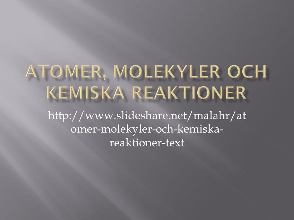 http://www.slideshare.net/malahr/at omer-molekyler-och-kemiska- reaktioner-text