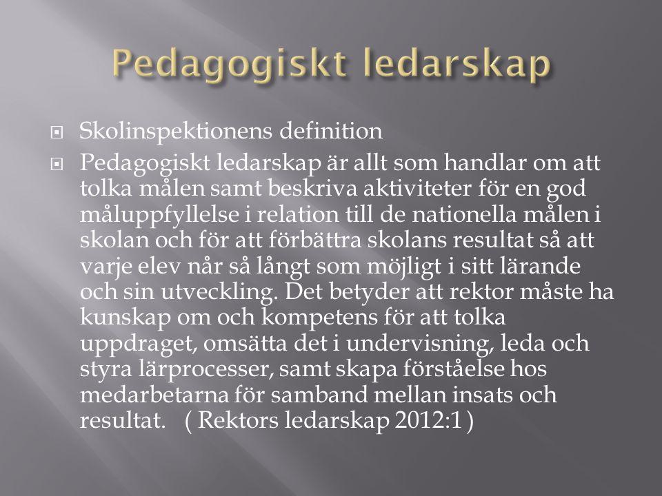  Skolinspektionens definition  Pedagogiskt ledarskap är allt som handlar om att tolka målen samt beskriva aktiviteter för en god måluppfyllelse i relation till de nationella målen i skolan och för att förbättra skolans resultat så att varje elev når så långt som möjligt i sitt lärande och sin utveckling.