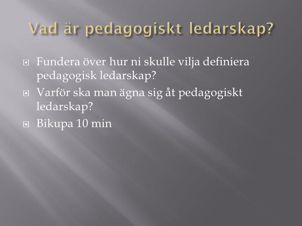  Fundera över hur ni skulle vilja definiera pedagogisk ledarskap.