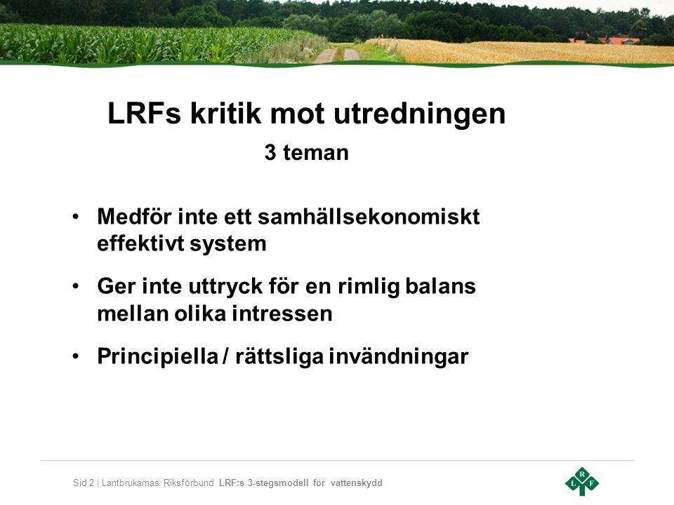 Sid 2 | Lantbrukarnas Riksförbund LRF:s 3-stegsmodell för vattenskydd LRFs kritik mot utredningen 3 teman •Medför inte ett samhällsekonomiskt effektivt system •Ger inte uttryck för en rimlig balans mellan olika intressen •Principiella / rättsliga invändningar