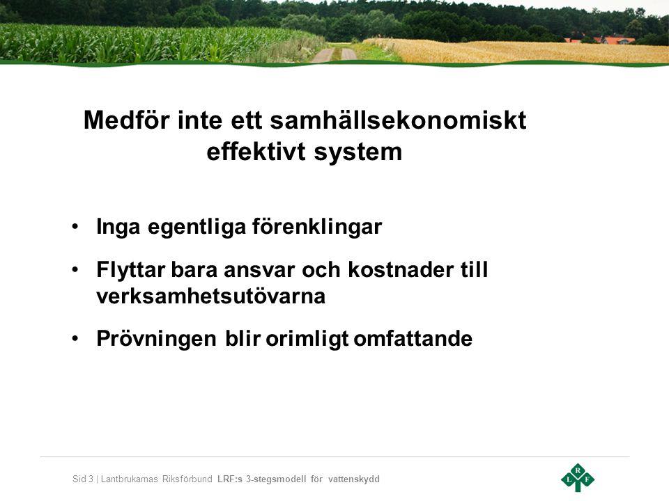 Sid 3 | Lantbrukarnas Riksförbund LRF:s 3-stegsmodell för vattenskydd Medför inte ett samhällsekonomiskt effektivt system •Inga egentliga förenklingar •Flyttar bara ansvar och kostnader till verksamhetsutövarna •Prövningen blir orimligt omfattande