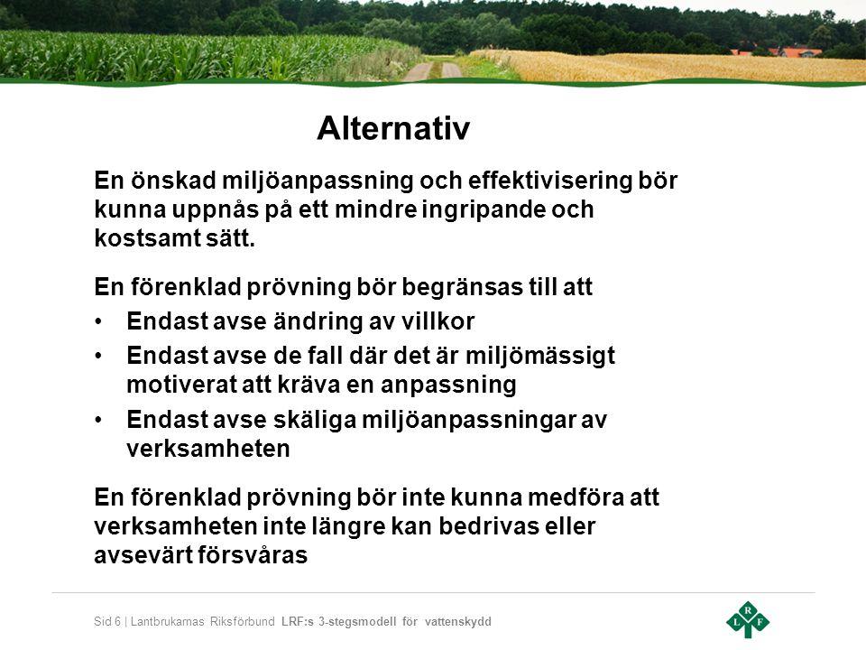 Sid 6 | Lantbrukarnas Riksförbund LRF:s 3-stegsmodell för vattenskydd Alternativ En önskad miljöanpassning och effektivisering bör kunna uppnås på ett mindre ingripande och kostsamt sätt.