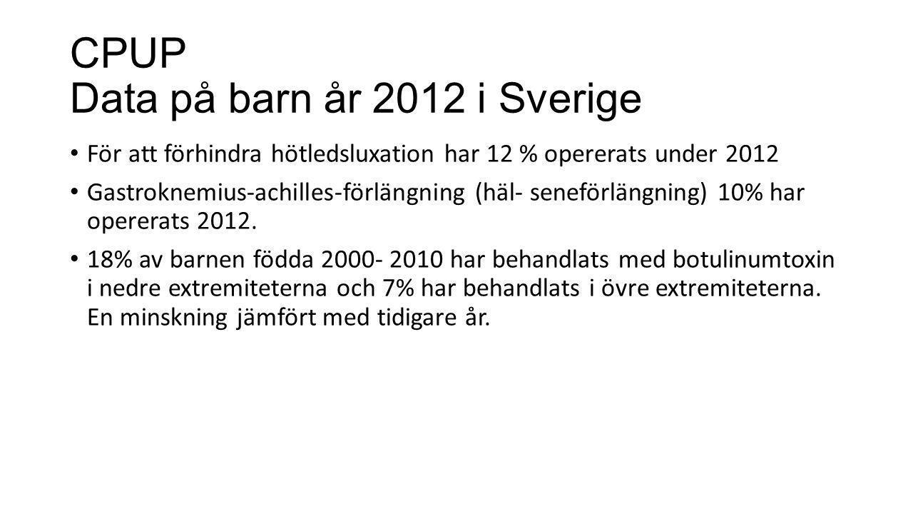 CPUP Data på barn år 2012 i Sverige • För att förhindra hötledsluxation har 12 % opererats under 2012 • Gastroknemius-achilles-förlängning (häl- senef