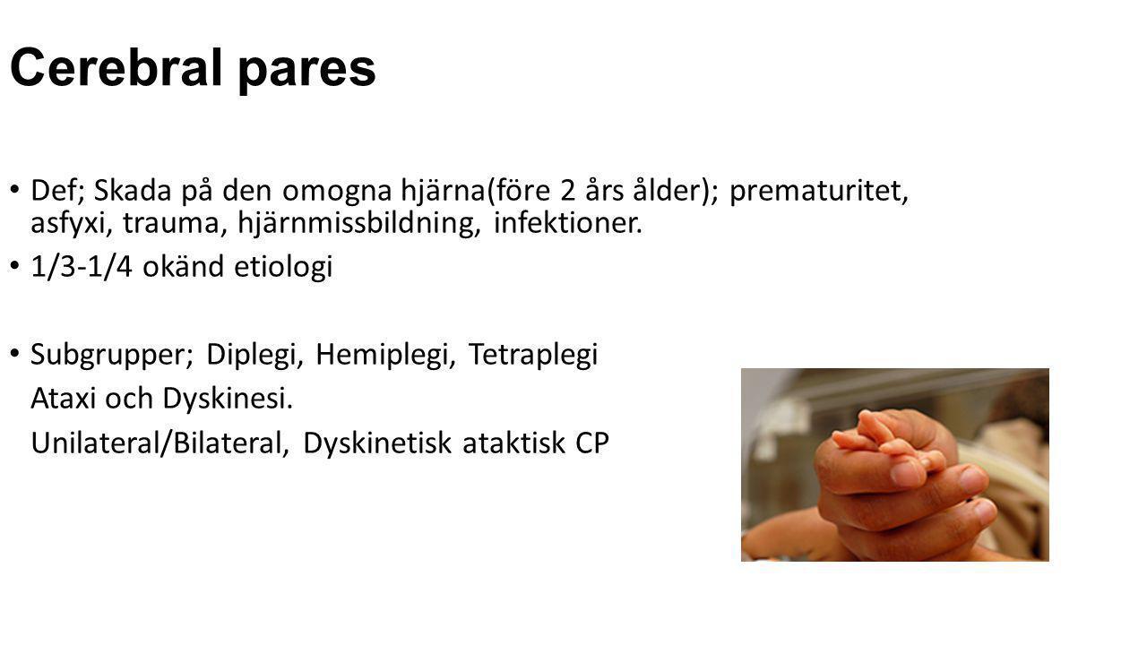 Behandling av spasticitet • Sjukgymnastik • Hjälpmedel/orthoser • Kirurgi • Läkemedel(tex baklofen, diazepam) • Intrathekalt Baklofen • Selektiv dorsal rizotomi(SDR)