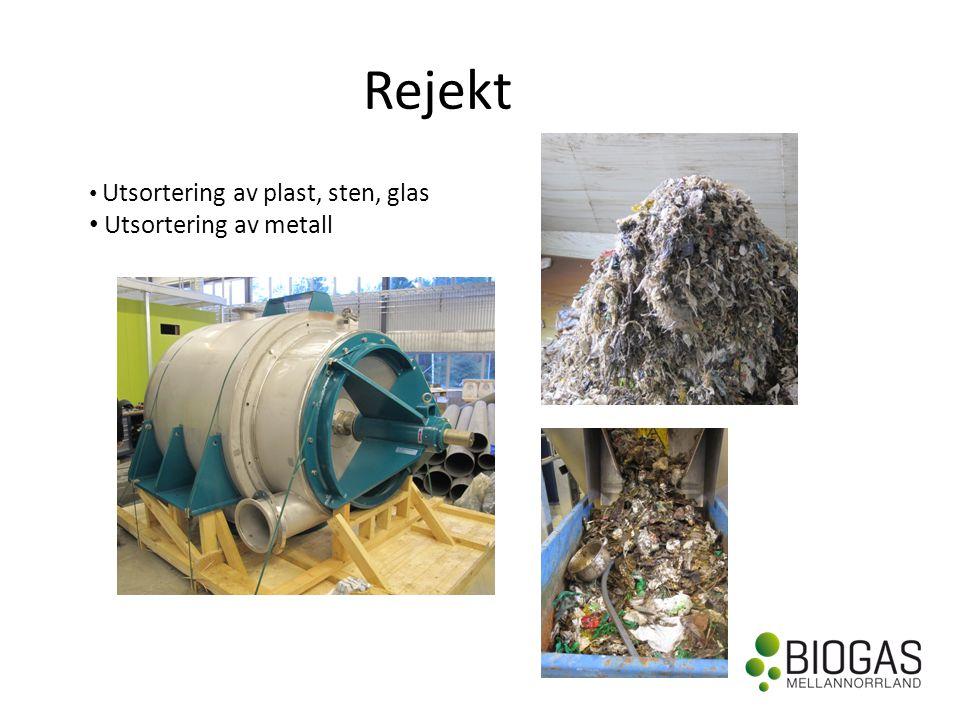 Rejekt • Utsortering av plast, sten, glas • Utsortering av metall