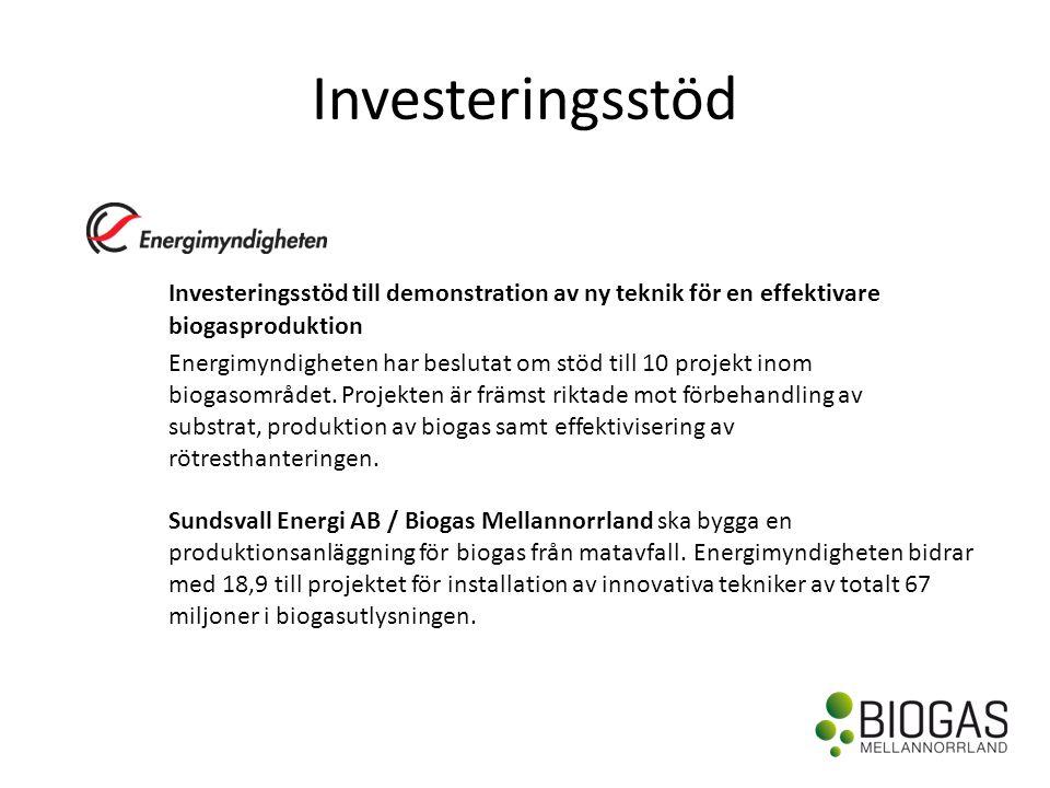 Investeringsstöd Investeringsstöd till demonstration av ny teknik för en effektivare biogasproduktion Energimyndigheten har beslutat om stöd till 10 projekt inom biogasområdet.