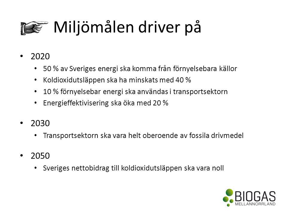 Miljömålen driver på • 2020 • 50 % av Sveriges energi ska komma från förnyelsebara källor • Koldioxidutsläppen ska ha minskats med 40 % • 10 % förnyelsebar energi ska användas i transportsektorn • Energieffektivisering ska öka med 20 % • 2030 • Transportsektorn ska vara helt oberoende av fossila drivmedel • 2050 • Sveriges nettobidrag till koldioxidutsläppen ska vara noll