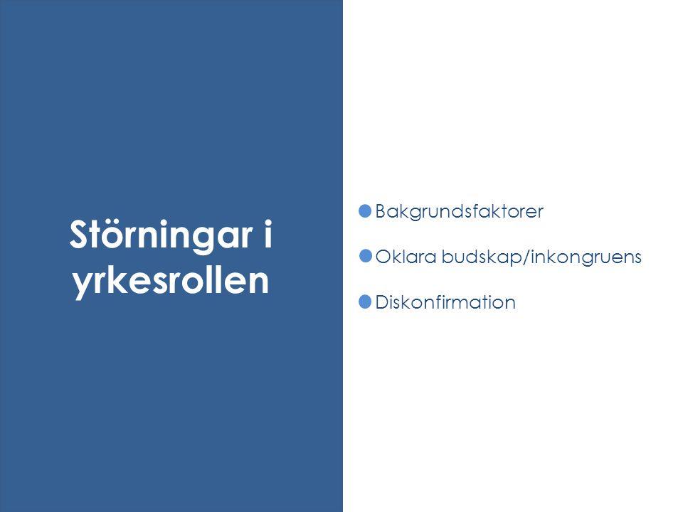 Bakgrundsfaktorer Oklara budskap/inkongruens Diskonfirmation Störningar i yrkesrollen