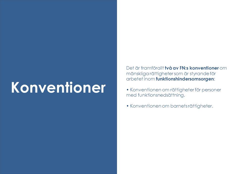 Det är framförallt två av FN:s konventioner om mänskliga rättigheter som är styrande för arbetet inom funktionshindersomsorgen : • Konventionen om rät