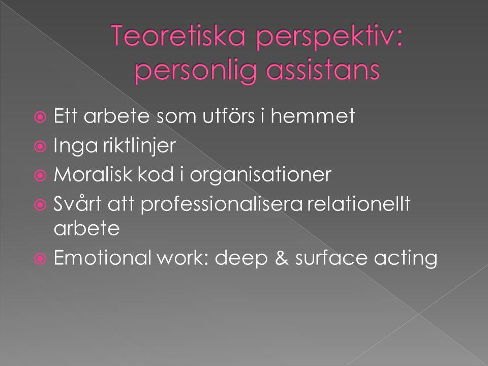  Ett arbete som utförs i hemmet  Inga riktlinjer  Moralisk kod i organisationer  Svårt att professionalisera relationellt arbete  Emotional work: