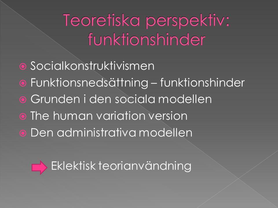  Socialkonstruktivismen  Funktionsnedsättning – funktionshinder  Grunden i den sociala modellen  The human variation version  Den administrativa