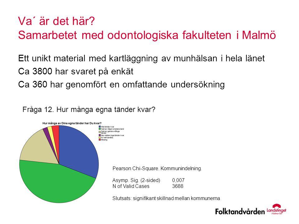 Va´ är det här? Samarbetet med odontologiska fakulteten i Malmö Ett unikt material med kartläggning av munhälsan i hela länet Ca 3800 har svaret på en