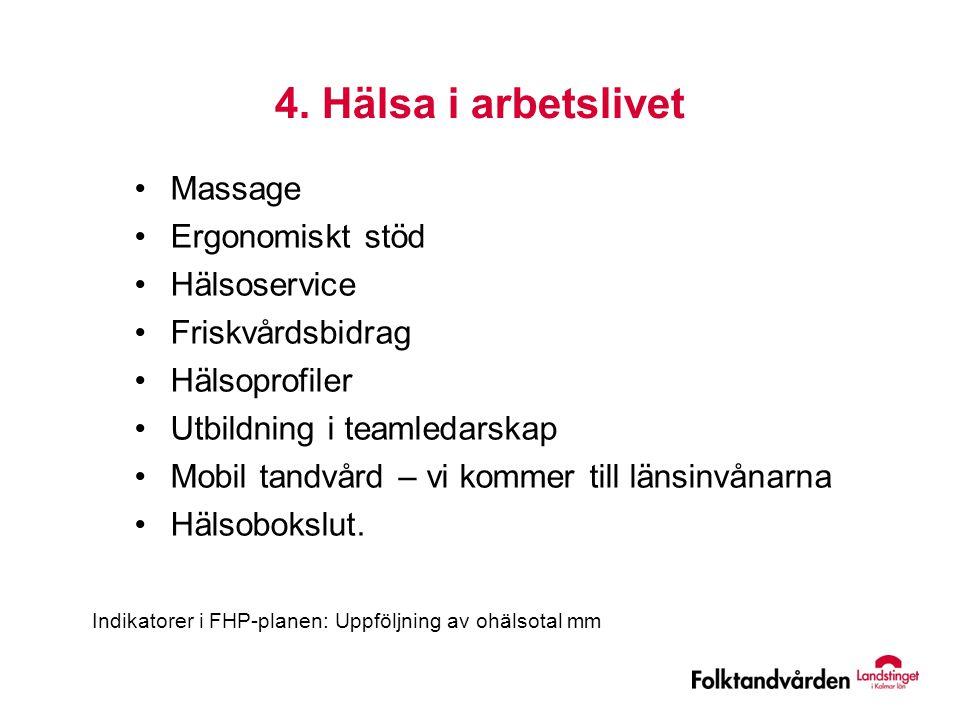 4. Hälsa i arbetslivet •Massage •Ergonomiskt stöd •Hälsoservice •Friskvårdsbidrag •Hälsoprofiler •Utbildning i teamledarskap •Mobil tandvård – vi komm