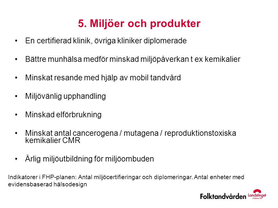 5. Miljöer och produkter •En certifierad klinik, övriga kliniker diplomerade •Bättre munhälsa medför minskad miljöpåverkan t ex kemikalier •Minskat re