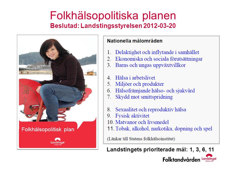 Folkhälsopolitiska planen Beslutad: Landstingsstyrelsen 2012-03-20 Landstingets prioriterade mål: 1, 3, 6, 11