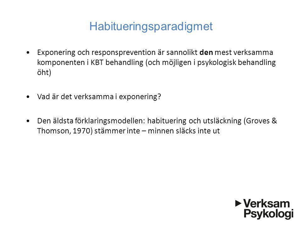 Habitueringsparadigmet •Exponering och responsprevention är sannolikt den mest verksamma komponenten i KBT behandling (och möjligen i psykologisk beha