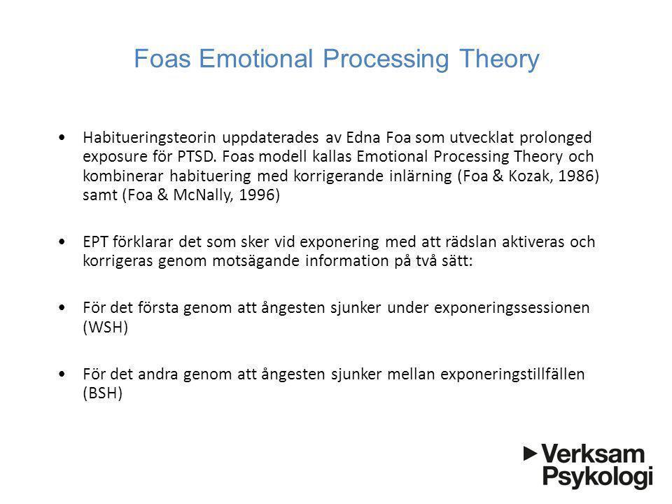 Foas Emotional Processing Theory •Habitueringsteorin uppdaterades av Edna Foa som utvecklat prolonged exposure för PTSD. Foas modell kallas Emotional