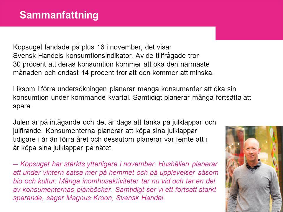 Sammanfattning Köpsuget landade på plus 16 i november, det visar Svensk Handels konsumtionsindikator.