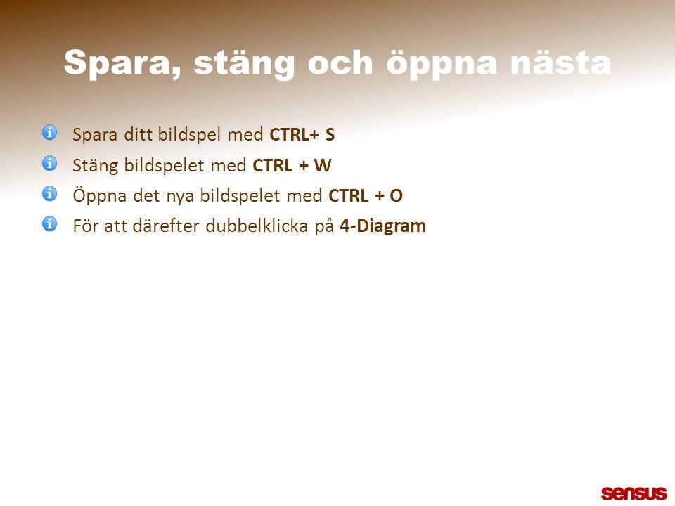 Spara, stäng och öppna nästa Spara ditt bildspel med CTRL+ S Stäng bildspelet med CTRL + W Öppna det nya bildspelet med CTRL + O För att därefter dubb