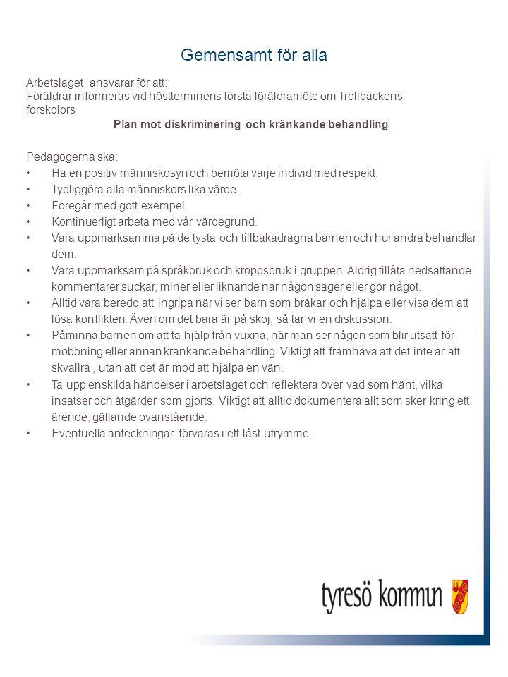 Gemensamt för alla Arbetslaget ansvarar för att: Föräldrar informeras vid höstterminens första föräldramöte om Trollbäckens förskolors Plan mot diskri