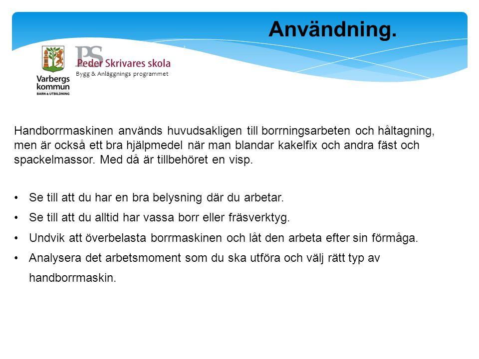 Bygg & Anläggnings programmet Skruvautomat.
