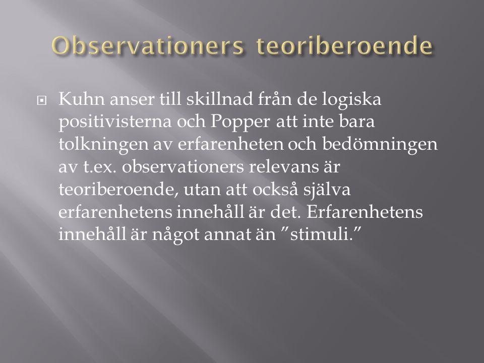  Kuhn anser till skillnad från de logiska positivisterna och Popper att inte bara tolkningen av erfarenheten och bedömningen av t.ex.