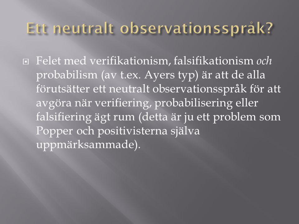  Felet med verifikationism, falsifikationism och probabilism (av t.ex.