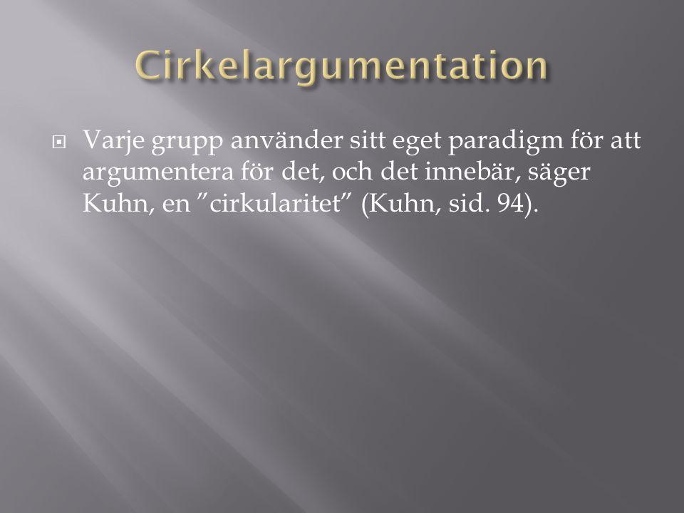  Varje grupp använder sitt eget paradigm för att argumentera för det, och det innebär, säger Kuhn, en cirkularitet (Kuhn, sid.