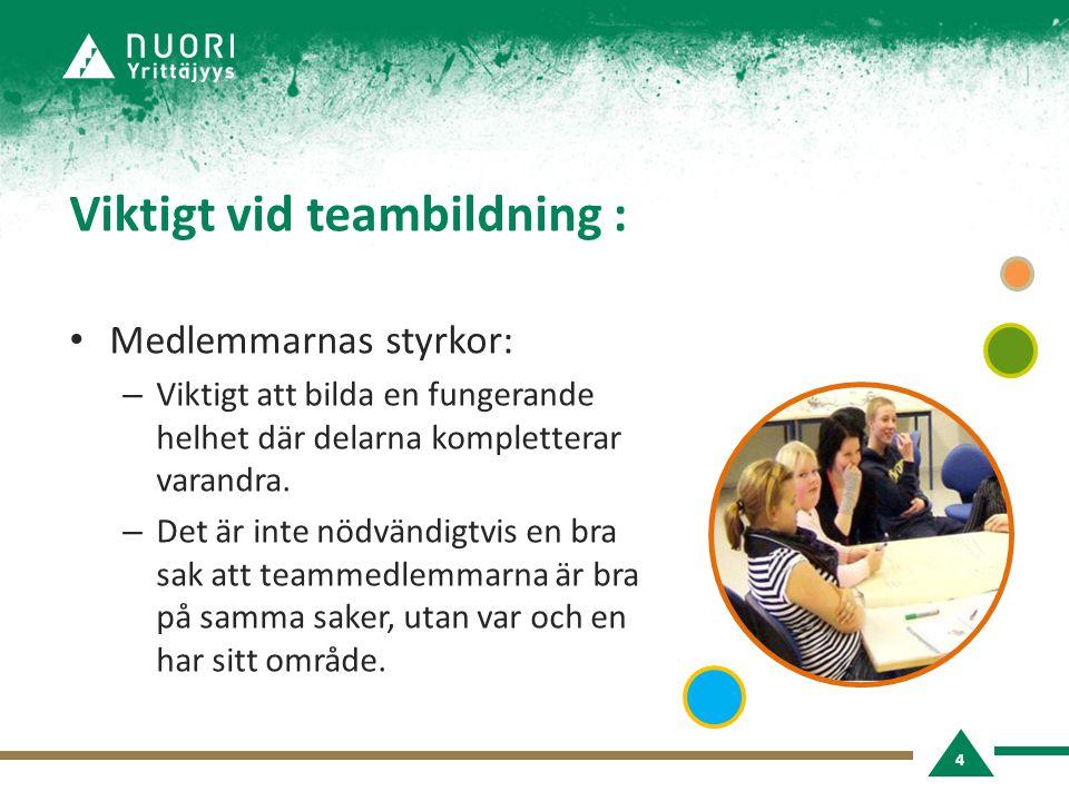 Viktigt vid teambildning : • Medlemmarnas styrkor: – Viktigt att bilda en fungerande helhet där delarna kompletterar varandra.