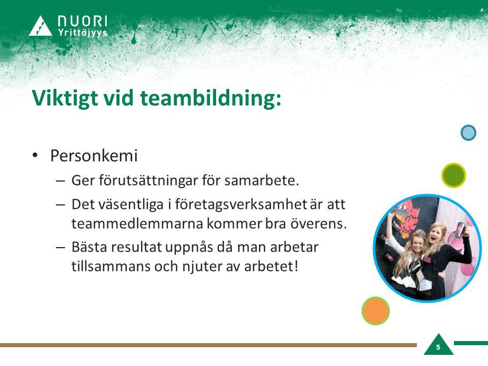 Viktigt vid teambildning: • Personkemi – Ger förutsättningar för samarbete.