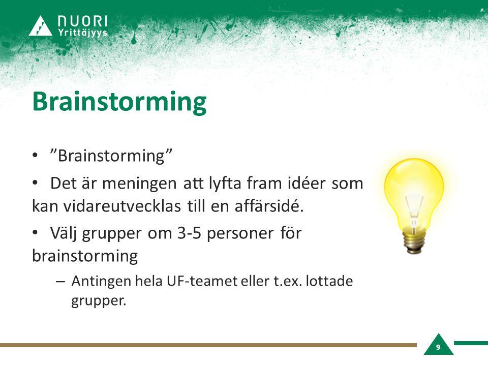 Brainstorming • Brainstorming • Det är meningen att lyfta fram idéer som kan vidareutvecklas till en affärsidé.