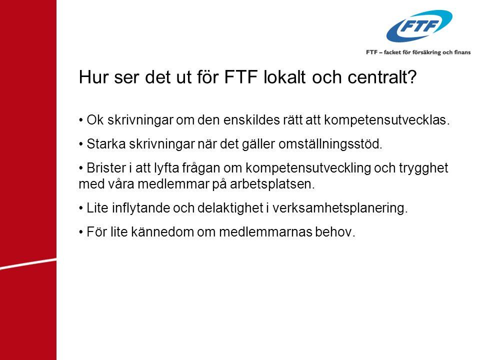 Hur ser det ut för FTF lokalt och centralt? • Ok skrivningar om den enskildes rätt att kompetensutvecklas. • Starka skrivningar när det gäller omställ