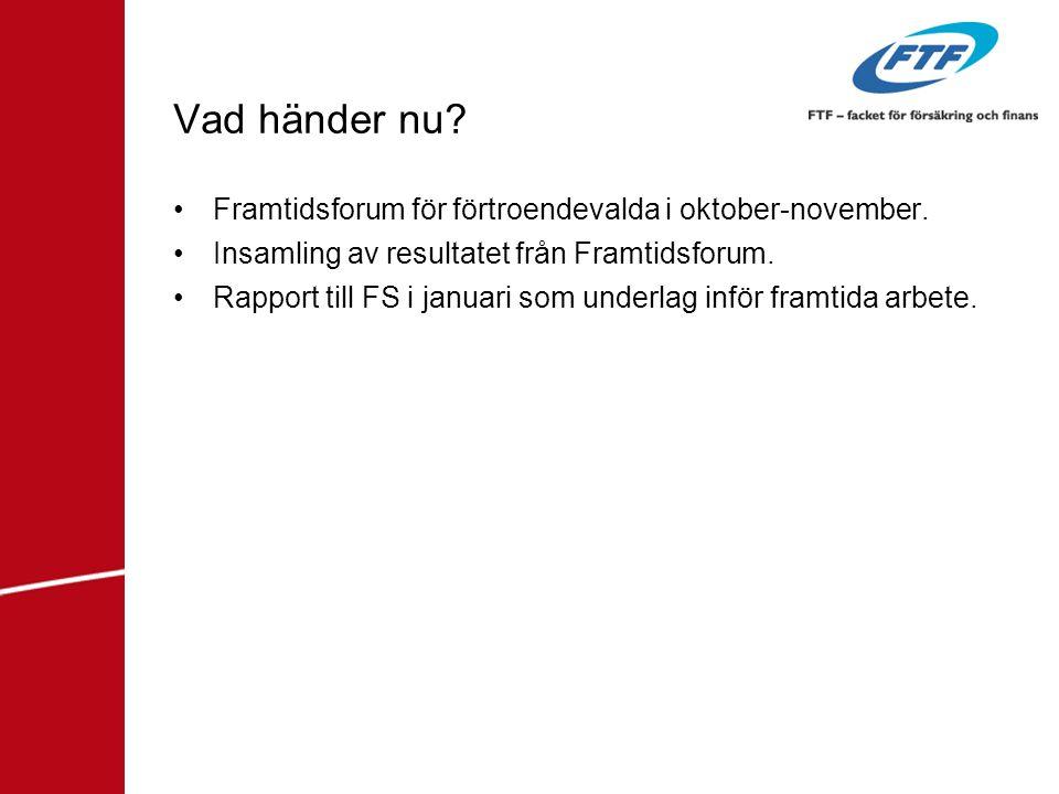 Vad händer nu? •Framtidsforum för förtroendevalda i oktober-november. •Insamling av resultatet från Framtidsforum. •Rapport till FS i januari som unde