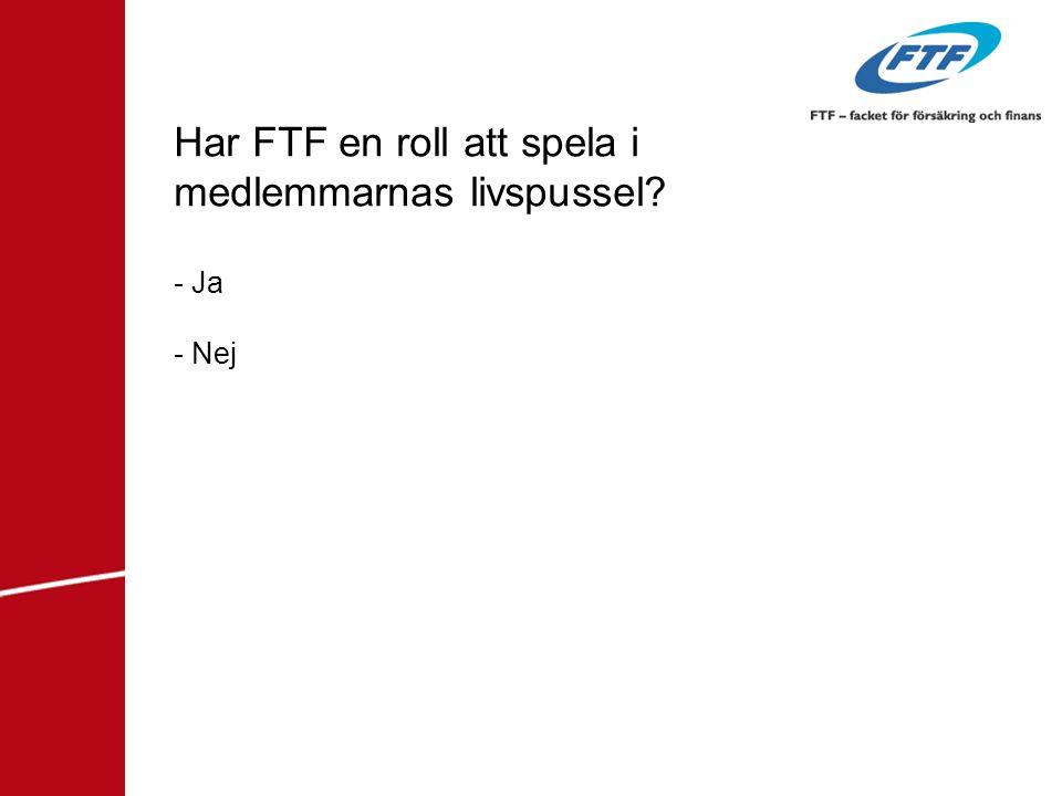 Har FTF en roll att spela i medlemmarnas livspussel? - Ja - Nej