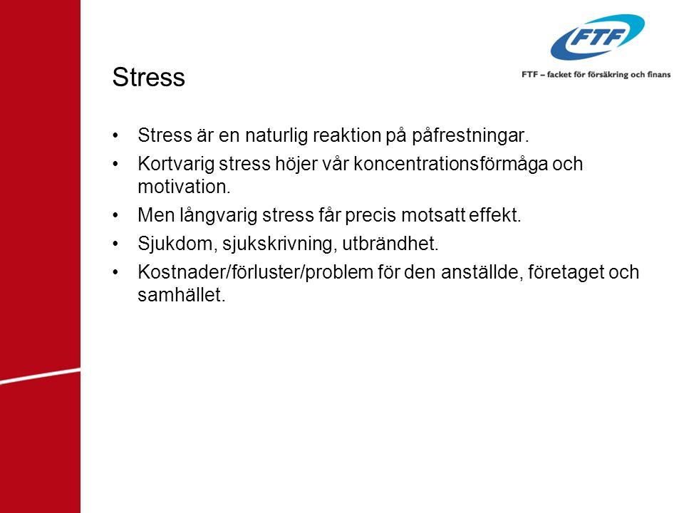 Stress •Stress är en naturlig reaktion på påfrestningar. •Kortvarig stress höjer vår koncentrationsförmåga och motivation. •Men långvarig stress får p
