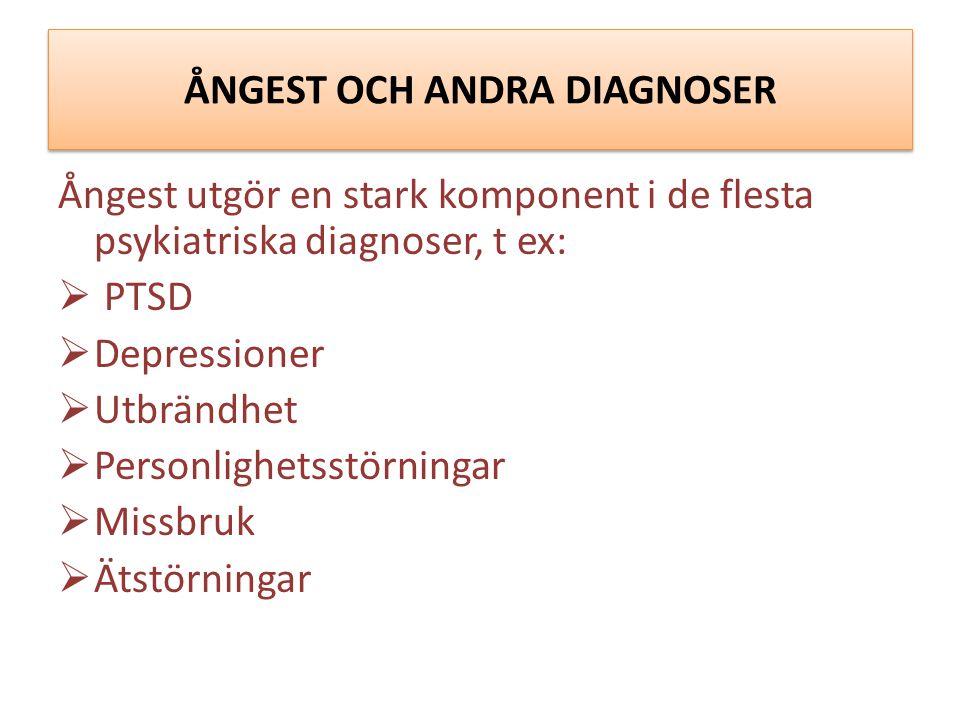 ÅNGEST OCH ANDRA DIAGNOSER Ångest utgör en stark komponent i de flesta psykiatriska diagnoser, t ex:  PTSD  Depressioner  Utbrändhet  Personlighetsstörningar  Missbruk  Ätstörningar