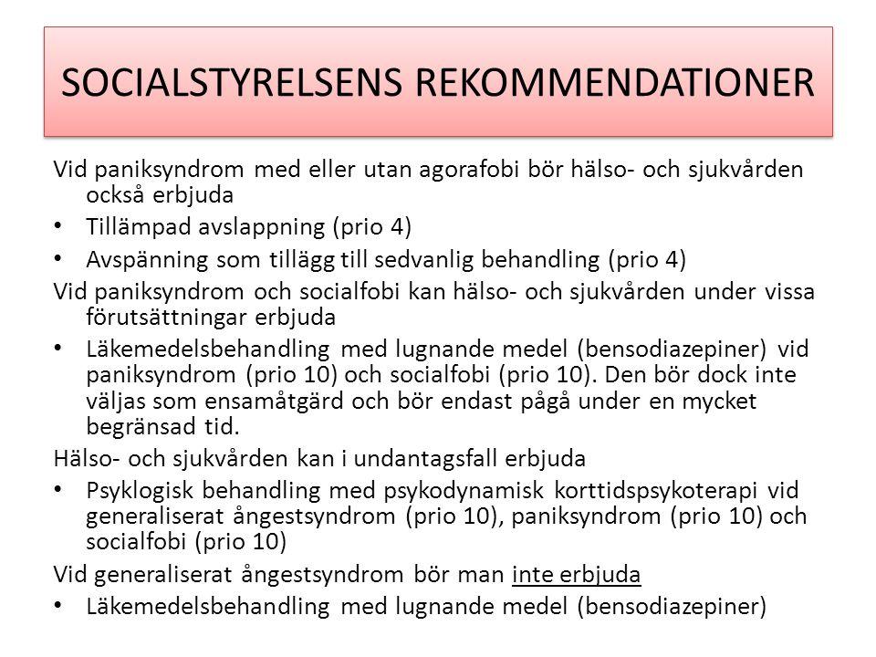 SOCIALSTYRELSENS REKOMMENDATIONER Vid paniksyndrom med eller utan agorafobi bör hälso- och sjukvården också erbjuda • Tillämpad avslappning (prio 4) • Avspänning som tillägg till sedvanlig behandling (prio 4) Vid paniksyndrom och socialfobi kan hälso- och sjukvården under vissa förutsättningar erbjuda • Läkemedelsbehandling med lugnande medel (bensodiazepiner) vid paniksyndrom (prio 10) och socialfobi (prio 10).