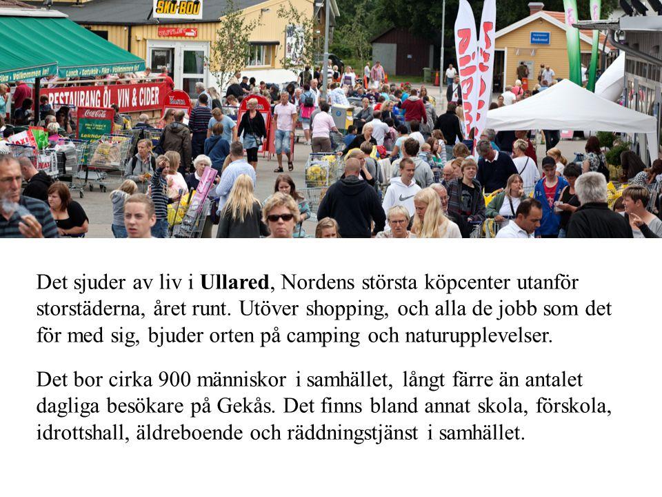 Det sjuder av liv i Ullared, Nordens största köpcenter utanför storstäderna, året runt. Utöver shopping, och alla de jobb som det för med sig, bjuder