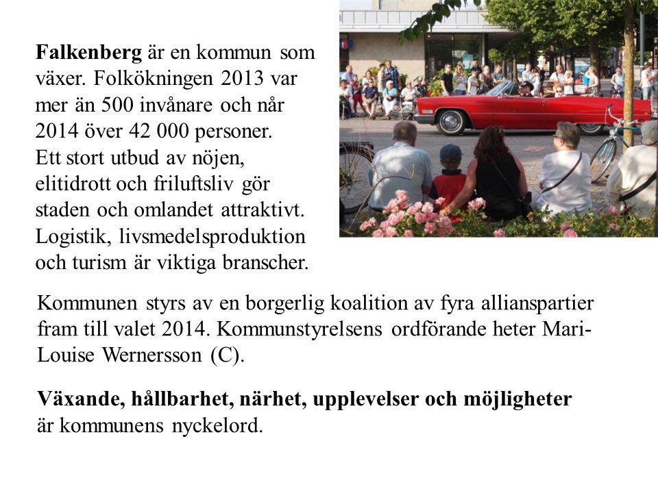 Falkenberg är en kommun som växer. Folkökningen 2013 var mer än 500 invånare och når 2014 över 42 000 personer. Ett stort utbud av nöjen, elitidrott o