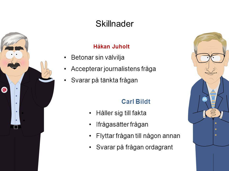 Carl Bildt •Håller sig till fakta •Ifrågasätter frågan •Flyttar frågan till någon annan •Svarar på frågan ordagrant Håkan Juholt •Betonar sin välvilja •Accepterar journalistens fråga •Svarar på tänkta frågan Skillnader