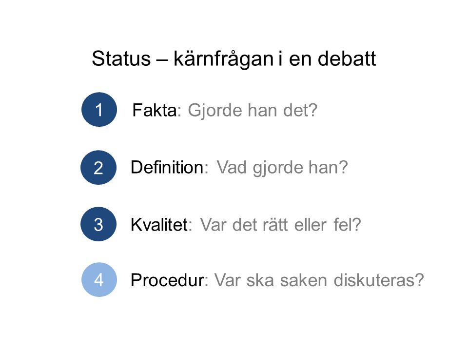 Status – kärnfrågan i en debatt Fakta: Gjorde han det.