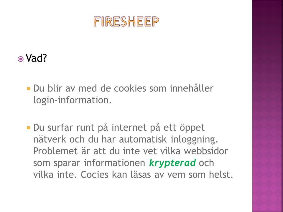  Vad?  Du blir av med de cookies som innehåller login-information.  Du surfar runt på internet på ett öppet nätverk och du har automatisk inloggnin