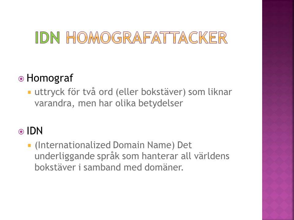  Homograf  uttryck för två ord (eller bokstäver) som liknar varandra, men har olika betydelser  IDN  (Internationalized Domain Name) Det underligg