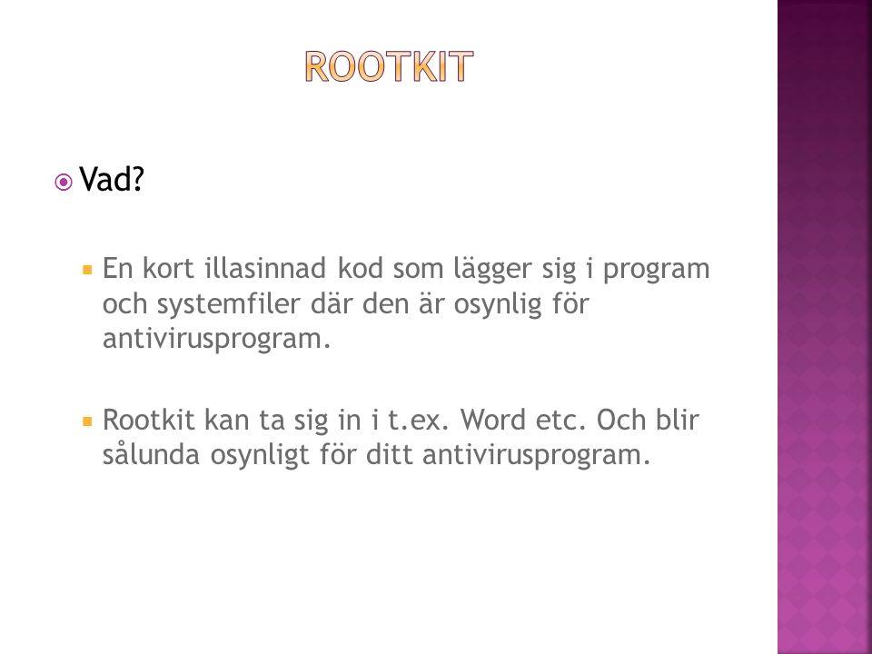 Vad?  En kort illasinnad kod som lägger sig i program och systemfiler där den är osynlig för antivirusprogram.  Rootkit kan ta sig in i t.ex. Word