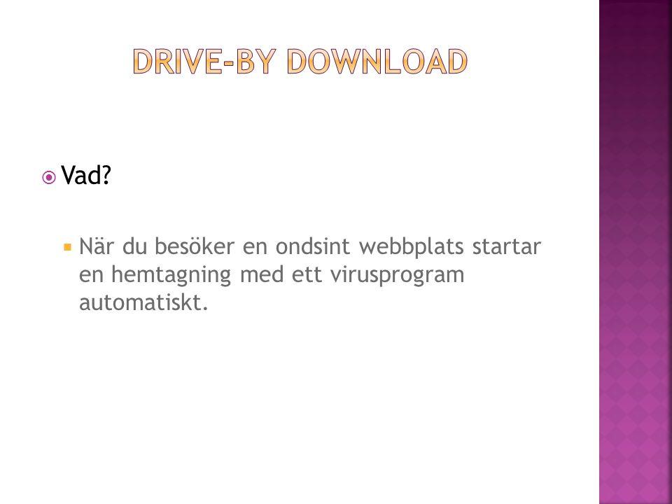  När du besöker en ondsint webbplats startar en hemtagning med ett virusprogram automatiskt.