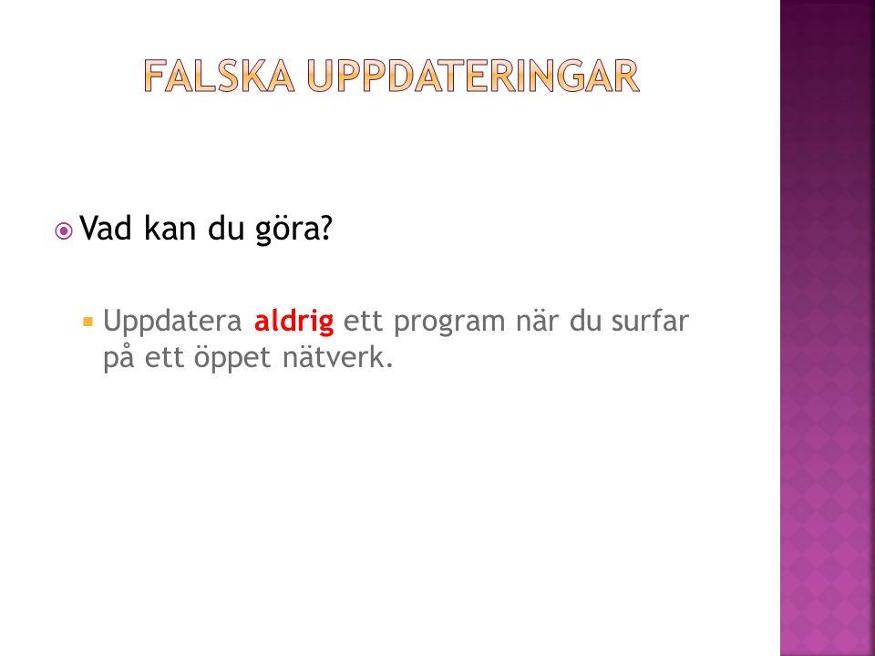  Uppdatera aldrig ett program när du surfar på ett öppet nätverk.