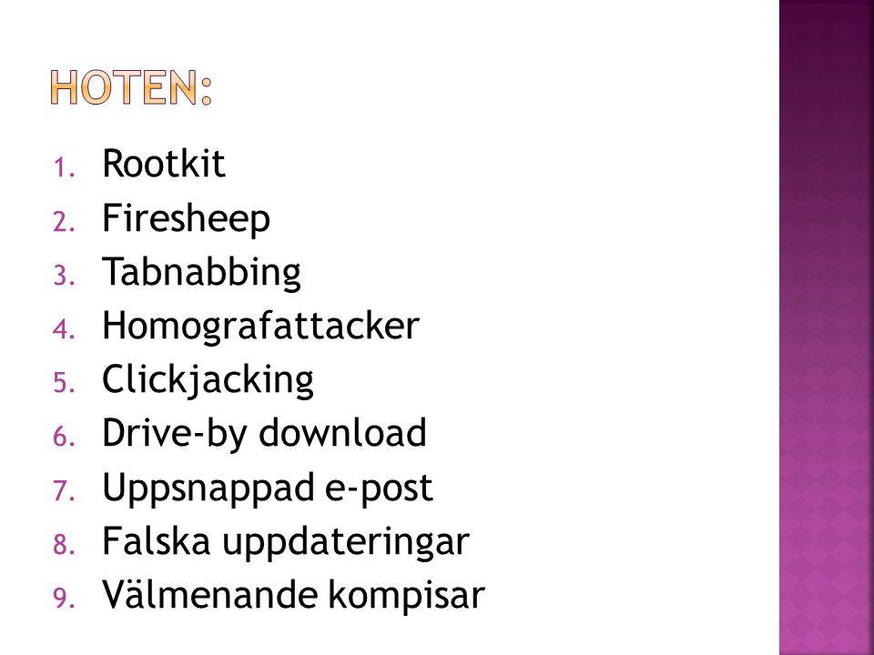 1. Rootkit 2. Firesheep 3. Tabnabbing 4. Homografattacker 5. Clickjacking 6. Drive-by download 7. Uppsnappad e-post 8. Falska uppdateringar 9. Välmena