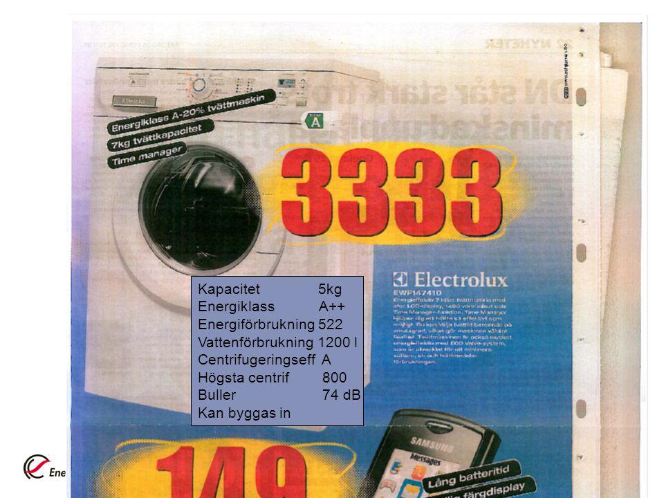 Kapacitet 5kg Energiklass A++ Energiförbrukning 522 Vattenförbrukning 1200 l Centrifugeringseff A Högsta centrif 800 Buller 74 dB Kan byggas in